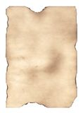 The burnt out paper 2. Sheet of the old paper which has turned yellow from time. The photo is isolated and placed on a white background. The picture is Royalty Free Stock Photo