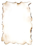The burnt out paper 7. Sheet of the old paper. The photo is isolated and placed on a white background. The picture is convenient for drawing on it of the text or Stock Images
