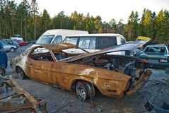 Burnt out and rusty car. Burnt out and rusty classic American car waiting to be pressed flat Stock Photography