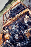 Burnt Out Rusty Car. Abandoned Wreck Royalty Free Stock Images