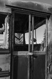 Burnt out school bus door. View through broken and brunt school bus into confer trees Royalty Free Stock Photo