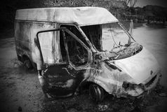 Burnt out van royalty free stock photography