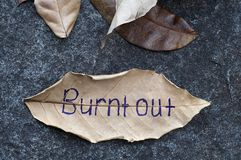 Burnt Out written on leaf stock photos