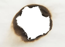 Burnt Paper Circle. Piece of Paper with Burnt Hole in Circle Shape with White Background Stock Image