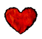 Burnt paper heart. Grungy paper heart with burnt edges isolated on white Stock Photography