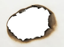 Burnt Paper Hole. Piece of Paper with Burnt Hole in Oval Shape with White Background stock photography