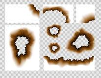 Burnt paper hole. Scorched paper holes vector illustration transparent. Burnt edges grunge texture.  stock illustration