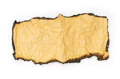 Burnt paper isolated on the white Stock Image