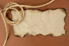 Burnt papieru i lna sznurek Zdjęcie Royalty Free