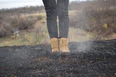 Burnt pole Zdjęcia Royalty Free
