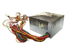 Burnt power supply. Power supply from PC, burnt due to jump voltage Stock Photo