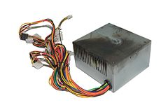 Burnt power supply. Power supply from PC, burnt due to jump voltage Royalty Free Stock Image