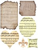 Musical Scraps. Burnt and ripped pieces of scrap paper, aged and with musical notes on them royalty free illustration