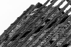 Burnt roof. Roof of a burnt house in Heythuysen, Netherlands Stock Photo