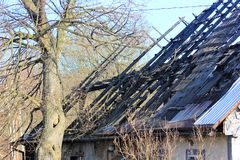 Burnt roof in Poland Royalty Free Stock Image