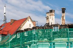 Burnt roof truss in downtown Bayreuth stock photos