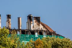 Burnt roof truss in downtown Bayreuth royalty free stock image