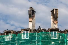 Burnt roof truss in downtown Bayreuth royalty free stock photos