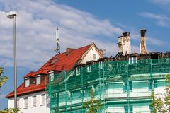 Burnt roof truss in downtown Bayreuth stock image