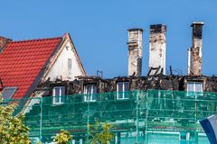 Burnt roof truss in downtown Bayreuth royalty free stock photo
