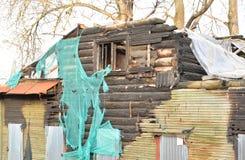 Burnt rural building. Royalty Free Stock Photos