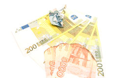 Burnt russian notes and euros Stock Photo