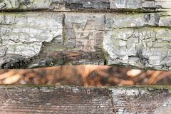 Burnt rustic wooden table surface. Close up view of burnt rustic wooden table surface with space between Stock Photos