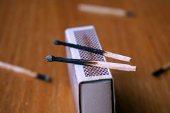 Burnt safety matches on the wooden table Royalty Free Stock Image