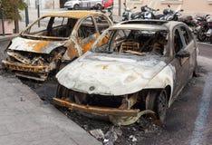 Burnt samochody Obraz Royalty Free