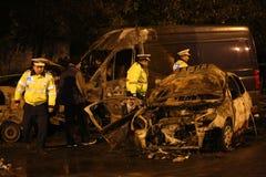 Burnt samochody w wypadku Obrazy Royalty Free