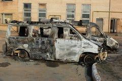 burnt samochody zestrzelają Zdjęcia Royalty Free