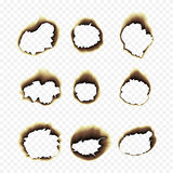Burnt scorched paper hole  illustration on transparent background. Scorched holes in the paper. Burned paper holes on a transparent background. Burnt scorched Stock Image