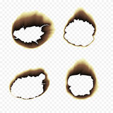 Burnt scorched paper hole  illustration on transparent background. Scorched holes in the paper. Burned paper holes on a transparent background. Burnt scorched Royalty Free Stock Photography