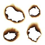 Burnt scorched paper hole  illustration on white background. Scorched holes in the paper. Burned paper holes on a white background. Burnt scorched paper hole Royalty Free Stock Image