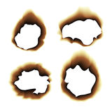 Burnt scorched paper hole  illustration on white background Royalty Free Stock Image
