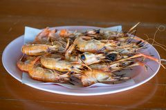 Burnt shrimp Seafood royalty free stock images