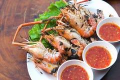 Burnt shrimp sea food. On dish royalty free stock images