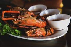 Burnt shrimp sea food. On dish royalty free stock photography
