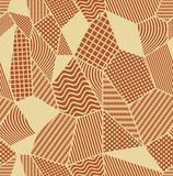 Burnt sienna and beige tile with patchwork patterned elements. Composed from polygonal shapes with simple geometric patterns.Compo. Burnt sienna and beige tile Stock Photography