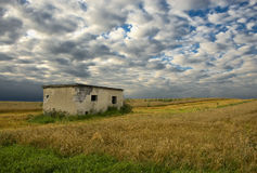 Burnt small house among fields Royalty Free Stock Photos