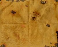 Burnt Stained Wrinkled Aged Paper Royalty Free Stock Images