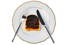 Burnt toast bread slices. Toast was burnt during toasting. burnt toast at breakfast Royalty Free Stock Photo