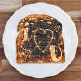 Burnt Toast I Love You Royalty Free Stock Photography