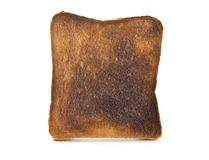 Burnt toast isolated on white. Royalty Free Stock Image