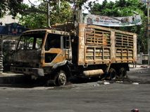 Burnt truck. Truck burnt by the red shirt protesters on a street in Bangkok, 20th May 2010 Royalty Free Stock Image