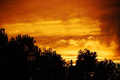 Burnt Umber Sky with Rain Clouds Royalty Free Stock Images