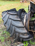 Burnt wheel of tractor Royalty Free Stock Photography