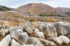 Burnt Winter Landscape at Hiraodai Karst Plateau. The mountainous otherworldly landscape of Hiraodai Karst Plateau in winter. Hiraodai Quasi-National Park in stock photo