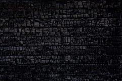 Burnt wood. Black charcoal of burnt log wall Royalty Free Stock Photos