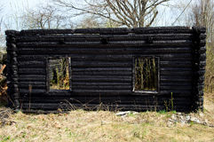Burnt wood house Royalty Free Stock Photo
